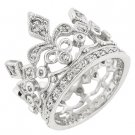 New White Gold Silver Crown Style CZ Eternity Ring
