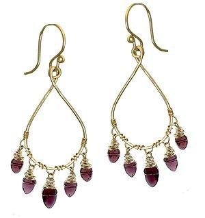 Calico Juno 14k Gold Garnet Drop Earrings