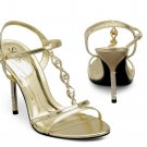 Gold Metallic Rhinestone High Heel Dress Shoes