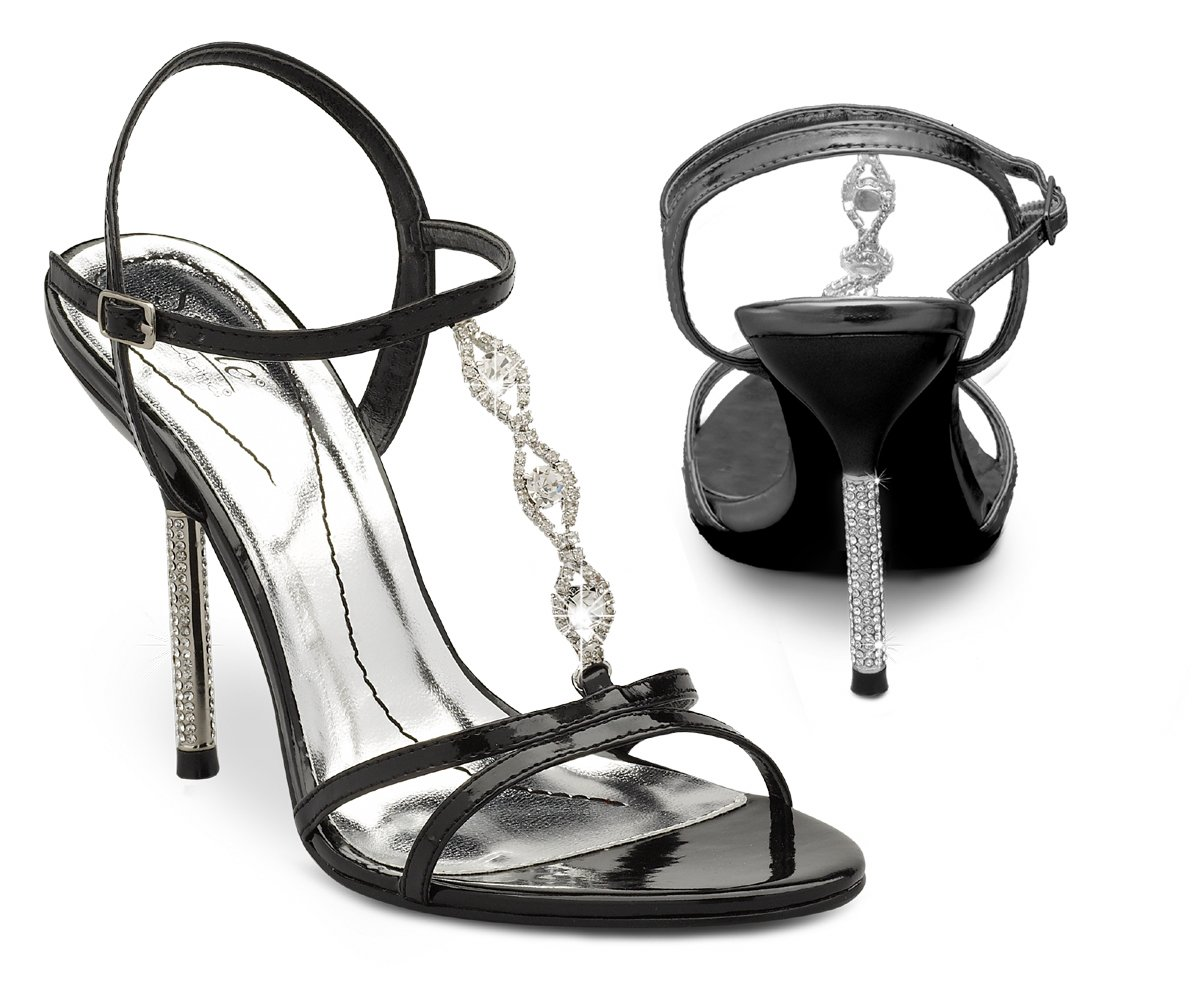 Black Metallic Rhinestone High Heel Dress Shoes