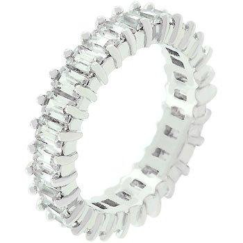 NEW White Gold Silver Baguette CZ Enternity Ring