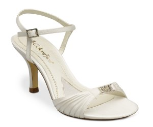 Ivory Satin Sandal Chain Ornament High Heel Shoes