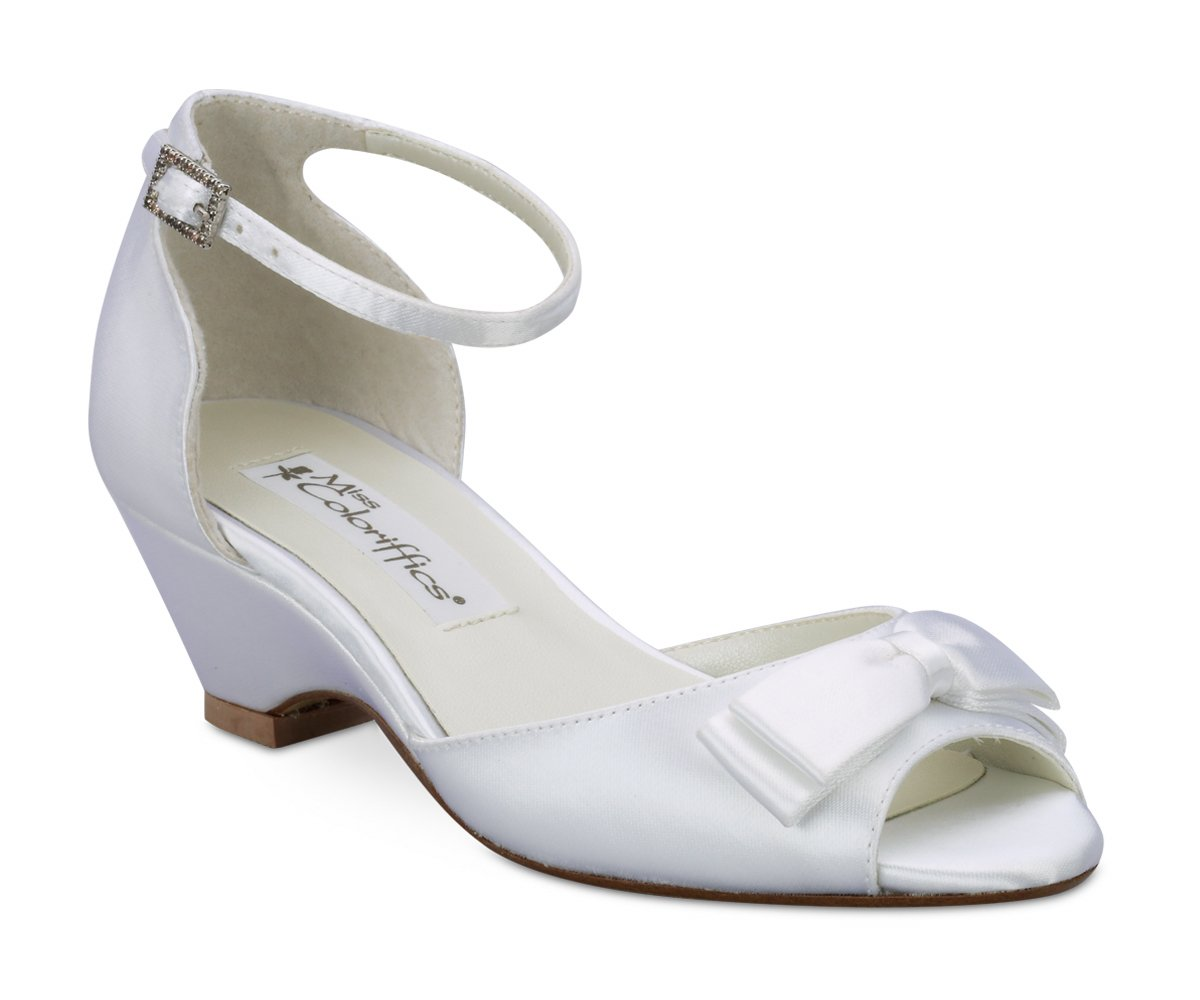 White Satin Dyeable Girls Bow Open Toe Dress Shoes