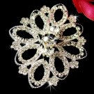 Elegant Silver Crystal Filligree Bridal Brooch Pin