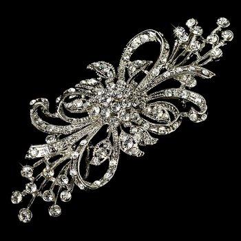 Vintage Silver Crystal Bridal Brooch Pin Hair Clip
