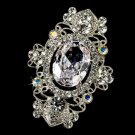 Vintage Crystal Silver AB Bridal Brooch Pin Hair Clip