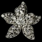 Silver Floral Rhinestomne Bridal Brooch Pin Hair Clip