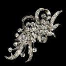 Silver Vintage Crystal Bridal Brooch Pin