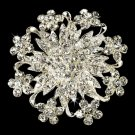 Stunning Crystal Floral Bridal Brooch Pin Hair Clip