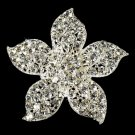 Silver Crystal Flower Bridal Brooch Pin Hair Clip