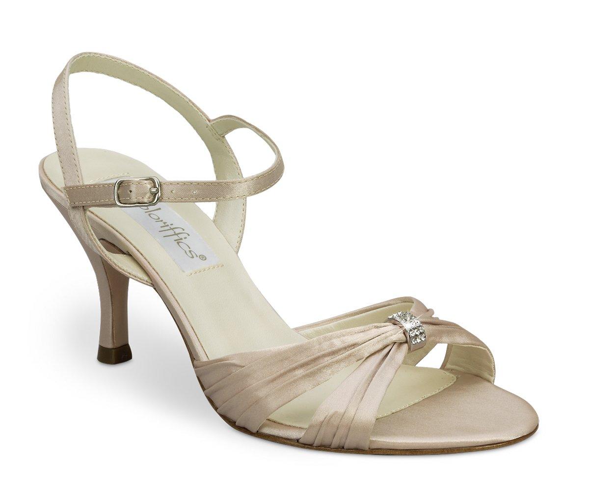 Latte Satin Rhinestone Bridal High Heel Shoes