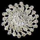 Stunning Silver Crystal Round Bridal Brooch Pin