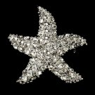 Silver Starfish Crystal CZ Bridal Brooch Pin