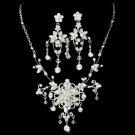 Silver Swarovski Rhinestone Flower Necklace Earring Set