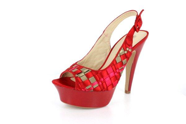 New Red Satin Check Pattern Platform High Heels Shoes
