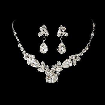 Silver Rhinestone Crystal Necklace Earring Set