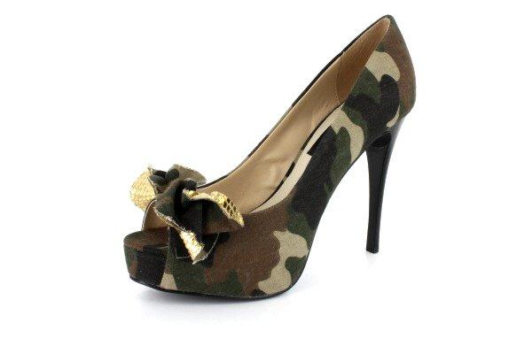New Army Fatigue Platform Pump High Heels Shoes