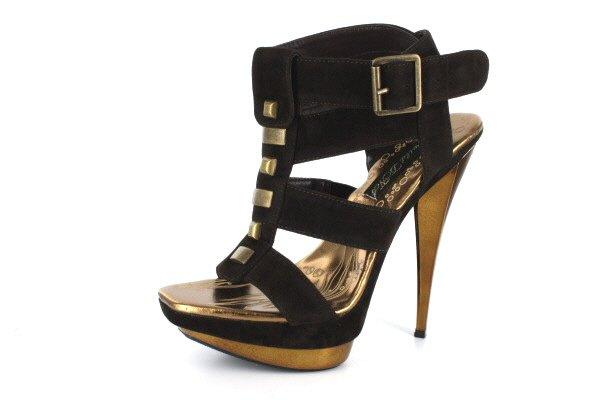 New Brown Velvet Gold Platform High Heels Shoes