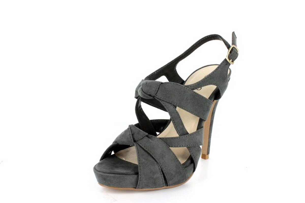 NEW Gray Suede Knotted Straps High Heel Sandals Shoes