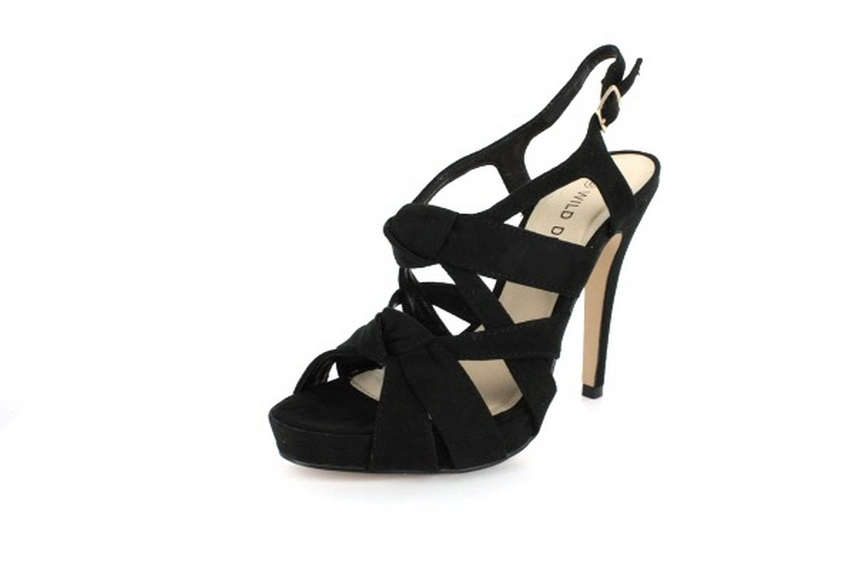 NEW Black Suede Knotted Straps High Heel Sandals Shoes