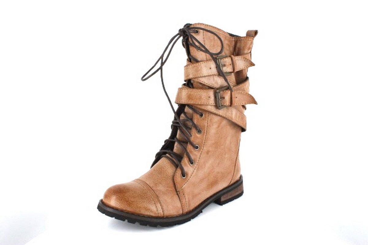 NEW Camel Buckle Womens Designer Combat Boots