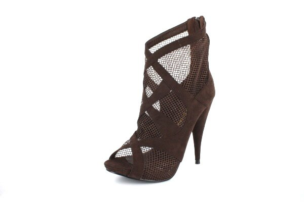 NEW Brown Suede Mesh Platform Ankle Boots Shoes