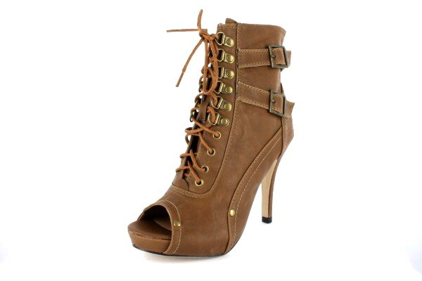 NEW Taupe Peep Toe Lace Up Womens Ankle Boots