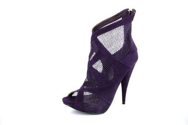NEW Purple Suede Mesh Platform Ankle Boots Shoes