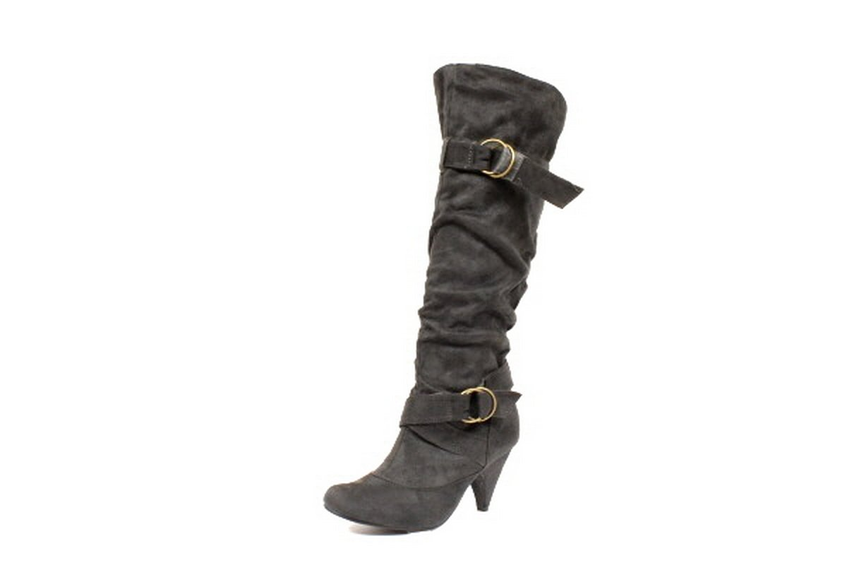 NEW Gray Suede Buckle Womens Mid Heel Boots Shoes
