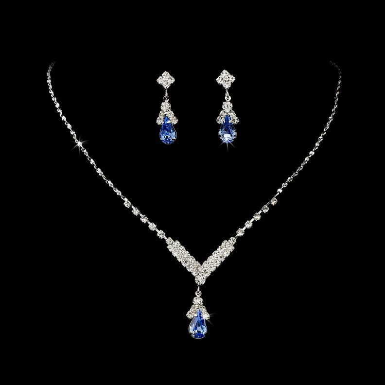 Silver Light Blue Crystal Drop Necklace Earring Set