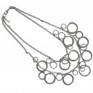 Chicos NEW Two Strand Silver Hoop Necklace Pendant