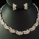 Silver AB Rhinestone Wedding Necklace Earring Set