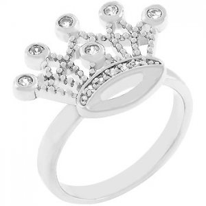 NEW White Gold Zilver CZ Crown Design CZ Ring
