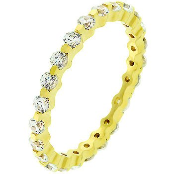 NEW 14K Gold 925 Sterling Silver CZ Eternity Ring