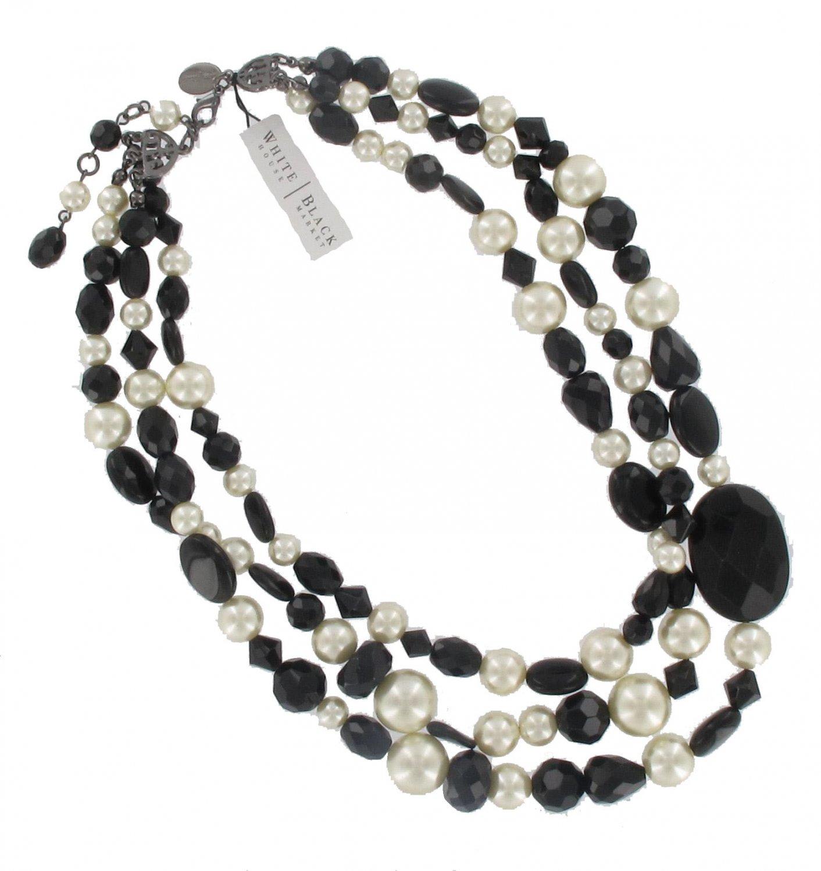 White House Black Market Black Off White  Bead Necklace