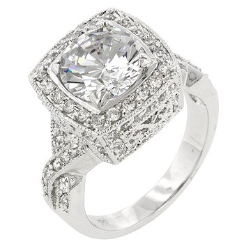 NEW White Gold Silver Classic Style CZ  Ring