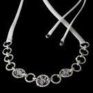 Silver Swarovski Crystal While Ribbon Headband Tiara