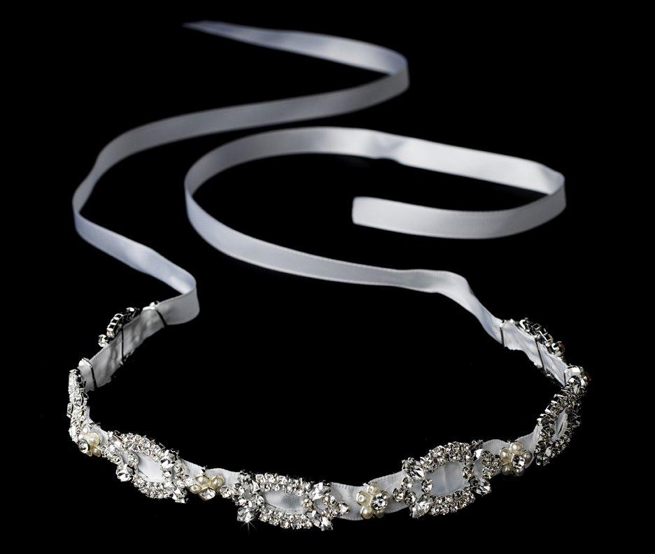 Swarovski Crystal Pearl White Ribbon Bridal Headband