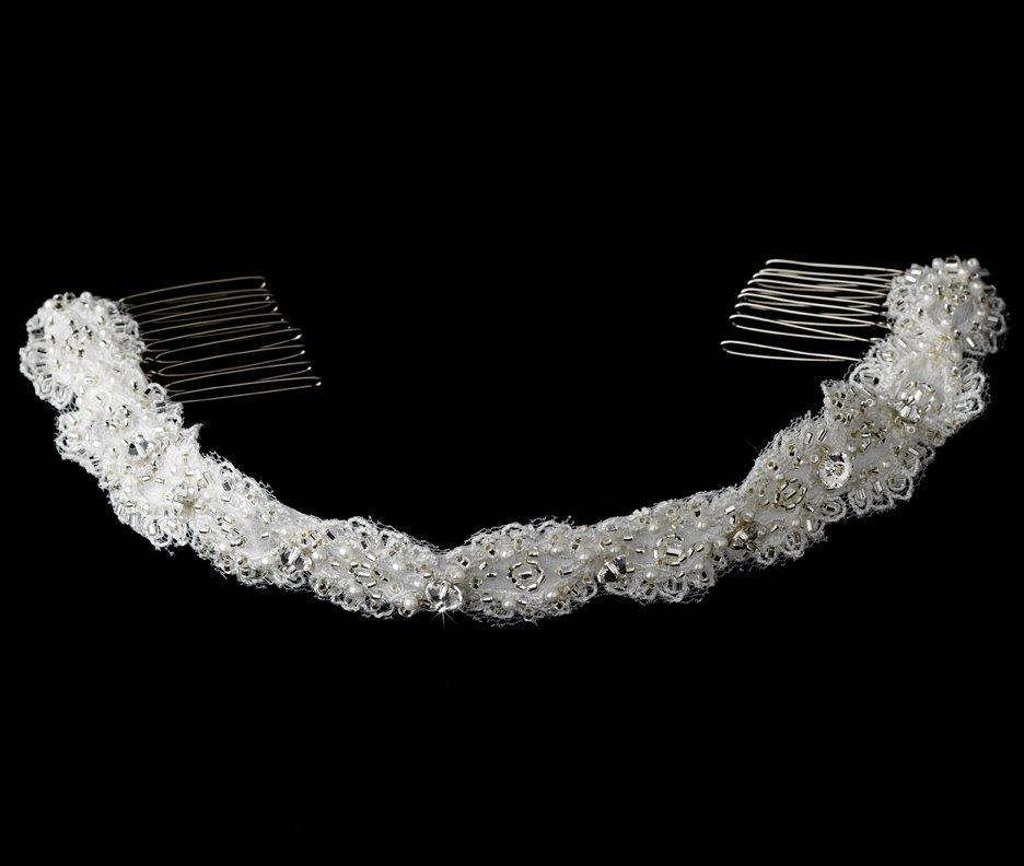 Swarovski Crystal Pearl White Ribbon Headband