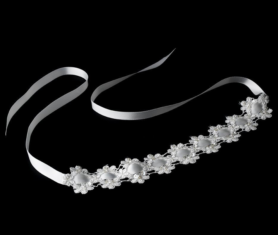 White Flower Lace Sequin Ribbon Headband Tiara