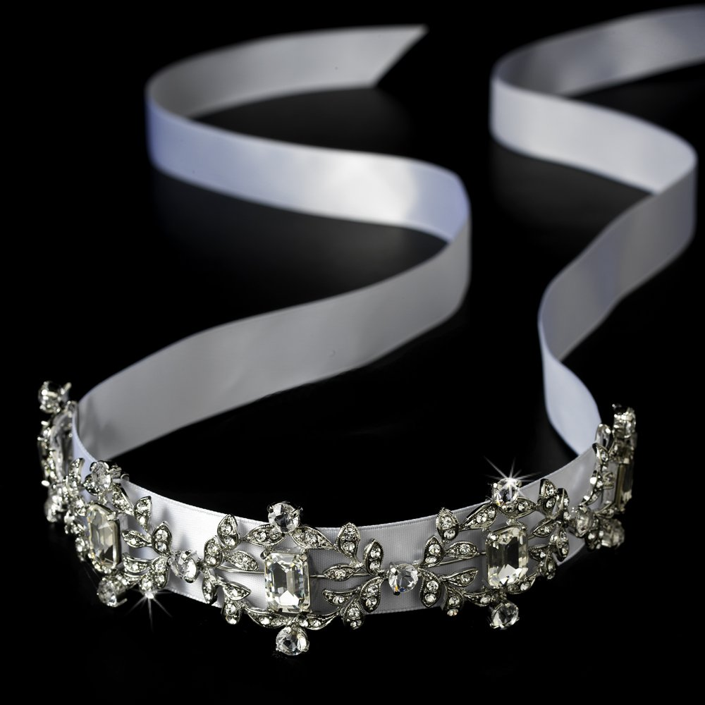 Antique Silver Crystal White Ribbon Headband Tiara