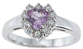 NEW 925 Sterling Silver CZ Heart Genuine Amethyst Ring