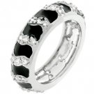 NEW White Gold Silver Black Enamel CZ Stacker Ring