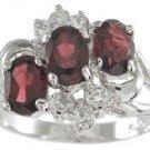 NEW 925 Sterling Silver CZ Genuine Red Garnet Ring