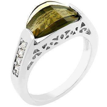 NEW White Gold Silver Smokey Topaz CZ Ring