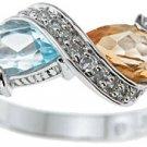 NEW 925 Sterling Silver CZ Genuine Citrine Topaz Ring