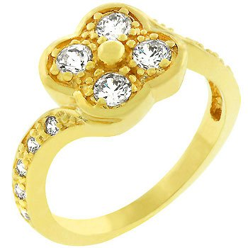 NEW 14k Gold Clover Cubic Zirconia Ring
