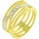 NEW 14k Gold Bonded 3 Pave CZ Journey Links Ring