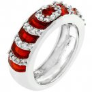 NEW White Gold Silver Garnet Enamel CZ Stacker Ring
