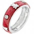 NEW White Gold Silver Pink Ice Enamel Teddy Bear Ring